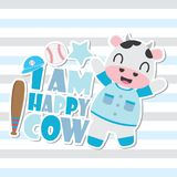 Cute happy cow  cartoon illustration for Kid t-shirt background design. Postcard, and wallpaper Royalty Free Stock Image