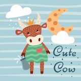 Cute, happy cow characters. Idea for print t-shirt. royalty free illustration