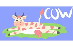 Cute happy cow with golden bell having fun, funny farm animal cartoon character vector illustration