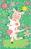 Cute happy cow with golden bell having fun, funny farm animal cartoon character stock illustration