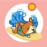 Happy dog in summer vacation. Cute happy dog in summer sun, wave vacation. Vector illustration cartoon style Vector Illustration