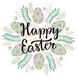 Cute Happy Easter lettering on celebration blackboard with floral and eggs. Easter card. Vector illustration Stock Image