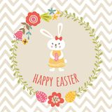 Cute Happy Easter template with eggs floral wreath rabbit Bunny typographic design Kids style banner. Vector Happy Easter templates with eggs flowral wreath girl royalty free illustration