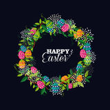 Cute Happy Easter wreath colors eggs Royalty Free Stock Images