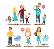Cute happy family dad mom and child character vector design. Use for infographic, website, banner and printing royalty free illustration