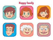 Cute happy family members faces Stock Photography
