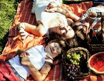 Cute happy family on picnic laying on green grass mother and kids, warm summer. Vacations Stock Photos