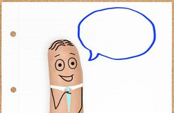 Cute Happy Finger Face Person with speech bubble. Cute little Finger Face businessman with blank speech bubble for copy space stock images