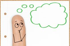 Cute Happy Finger Face Person with Thinking Cloud royalty free stock images