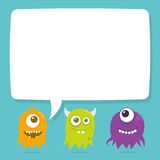 Cute Happy Flying Aliens, Blank Speech Bubble. Three little cute flying aliens with a cartoon speech bubble above their head for copy. The file is easily Royalty Free Stock Image