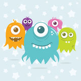Cute Happy Flying Aliens, Invading Scene. Some cute happy, floating, cartoon, vector aliens floating around, ready to invade. The file is easily editable, with Royalty Free Stock Photo