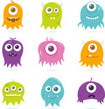 Cute Happy Flying Aliens Set. A collection of nine happy, floating, cartoon, vector aliens. These cute little guys can be used for a variety of projects. The Royalty Free Stock Images
