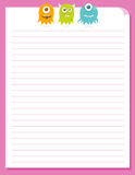 Cute Happy Flying Aliens, Stationery Template. Cute little floating alien monsters at the top of a piece of colorful stationery Stock Photo