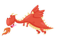 Cute Happy Flying Baby Dragon Illustration. Ancient Cute Dragon Illustration Character, Suitable for Children Product, Print, Logo, Game Asset, And Other Royalty Free Stock Photography