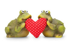 Cute happy Frogs in love with heart Royalty Free Stock Photography