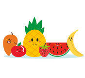 Cute happy fruits standing together Stock Photos