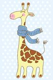 Cute happy Giraffe with a scarf. Stock Photography