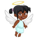 Cute happy girl afro-american girl angel character with white wings flying. Vector illustration isolated. Cute happy girl afro-american girl angel character Stock Photos