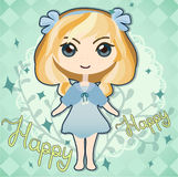 Cute happy girl. Happy cute girl with blond hair (and small freckles Royalty Free Illustration