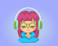 Cute happy girl with glasses listens to music. Vector cartoon illustration. Stock Photography