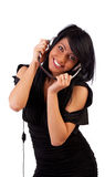 Cute happy girl with headphones Royalty Free Stock Photography