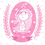 Cute happy girl meditates in the Lotus position. Background of flowers and hearts. pink. vector Stock Photo