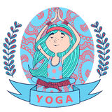 Cute happy girl meditates in the Lotus position. Background pattern. blue and red colors. vector Stock Photo