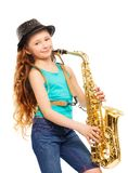 Cute happy girl playing alto saxophone alone Royalty Free Stock Photo