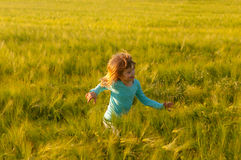 Cute happy girl running in the field of wheat Stock Images