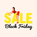 Cute and happy girl on sale Black Friday in a cartoon style. Royalty Free Stock Photos