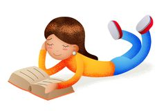 Cute happy girl smiling reading book lying on floor character icon read symbol isolated cartoon design education concept. Cute happy girl smiling reading book royalty free illustration