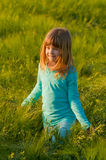 Cute happy girl walking in the field of wheat Royalty Free Stock Photo