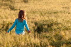 Cute happy girl walking in the field of wheat Royalty Free Stock Images
