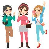 Girls Friends Fun. Cute happy girls friends with fashion clothes having fun Stock Photography