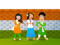 Cute happy girls for Indian Independence Day. Cute girls singing, dancing and playing musical instrument on National Flag Color wall background, Concept for Royalty Free Stock Photo