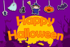 Cute happy halloween background  illustration Stock Photography
