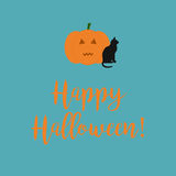 Cute Happy Halloween card with a scary carved pumpkin and black. Cat on a blue background Stock Photography