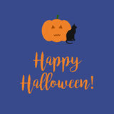 Cute Happy Halloween card with a scary carved pumpkin and black. Cat on a blue background Royalty Free Stock Photos