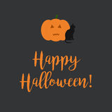 Cute Happy Halloween card with a scary carved pumpkin and black Stock Image