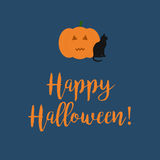 Cute Happy Halloween card with a scary carved pumpkin. Cute Happy Halloween card with a scary carved pumpkin and black cat on dark blue background Royalty Free Stock Images