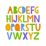Cute and happy hand drawn alphabet. Cute and colorful childish hand drawn English alphabet, with dots. Suited for children`s birthday invitation or other fun Stock Image