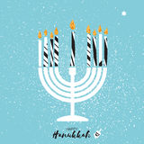 Cute Happy Hanukkah Greeting card with gold glitter elements. Stock Photography