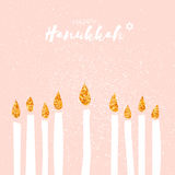 Cute Happy Hanukkah Greeting card with gold glitter elements. Jewish holiday with candles on pink background. Vector design illustration