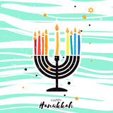 Cute Happy Hanukkah Greeting card. Jewish holiday with menorah Stock Photos