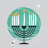 Cute Happy Hanukkah Greeting card. Jewish holiday with menorah. Traditional Candelabra, white candles on grey background. Vector design illustration