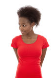 Cute and happy isolated afro american girl looking sideways on w Royalty Free Stock Image