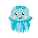 Cute happy jellyfish cartoon character sea animal  illustration. Stock Photography
