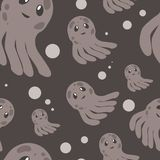 Cute happy jellyfish cartoon character seamless pattern sea animal illustration. Nature animal aquatic medusa, aquarium Stock Photo
