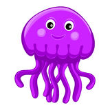 Cute happy jellyfish cartoon character Sea animal vector illustration Invertebrate animal sea fauna Medusa vector illustration Royalty Free Stock Images