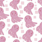Cute happy jellyfish cartoon character seamless pattern sea animal illustration. Nature animal aquatic medusa, aquarium Stock Image